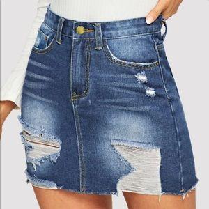 Distressed Denim Jean Skirt Dark Wash Ripped Raw